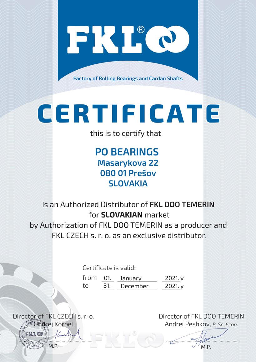 FKL certifikát PO Bearings