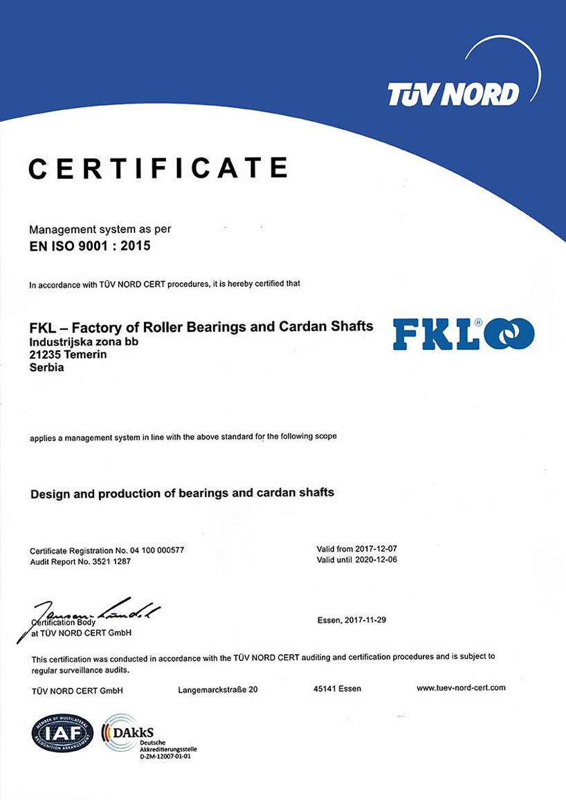 FKL certifikát ISO 9001
